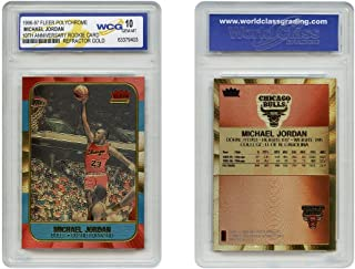 Michael Jordan Fleer Rookie Card Genuine Poly-Chrome Refractor Gold GEM-MINT 10