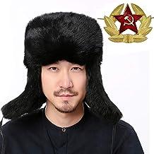 Valpeak Mens Fur Hat Rabbit Fur Russian Ushanka Hats Earflap Trapper Hat for Winter