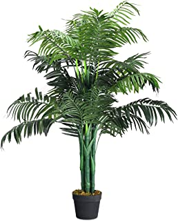 Goplus Fake Palm Tree Artificial Greenery Plants in Nursery Pot Decorative Trees for Home, Office, Lobby (3.5Ft Palm Tree)