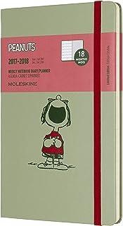 Moleskine Cuaderno y calendario de la semana, Peanuts, 18meses, 2017/2018, Hard Cover, color verde L