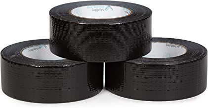 Blue Summit Supplies Pack Black Duct Tape, Tear by Hand Design, Strong 7mil Thickness, Commercial Grade Strength, 60 Yard Length, 180 Total Yards