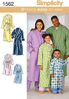 Simplicity Sewing Pattern 1562: Child's, Teens' and Adults' Robe and Belt, Size A, Paper, White, L/XS-XL