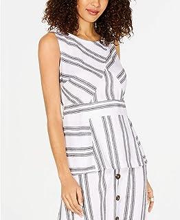 Alfani Womens White Striped Sleeveless Jewel Neck Peplum Top Size S