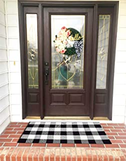 Buffalo Plaid Outdoor Rugs Washable- Cotton Black and White Rug for Front Porch/Kitchen/Sink/Bathroom/Laundry Room Farmhouse Welcome Door Mat Layered Doormat, 2'×4'2
