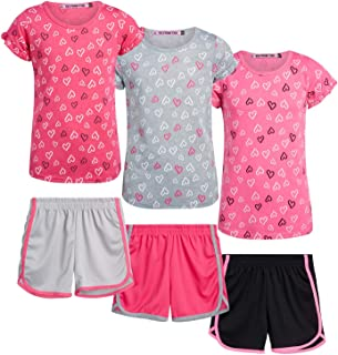 Coney Island Girls' Active Shorts Set - 6 Piece T-Shirt and Dolphin Gym Shorts Kids Clothing Set (Little Girl/Big Girl), S...