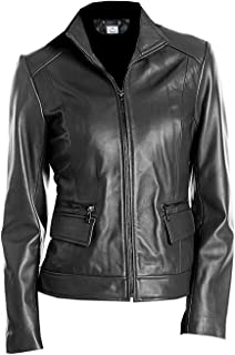 VearFit Camro Clasic Slim Fit Genuine Leather Jacket for Women