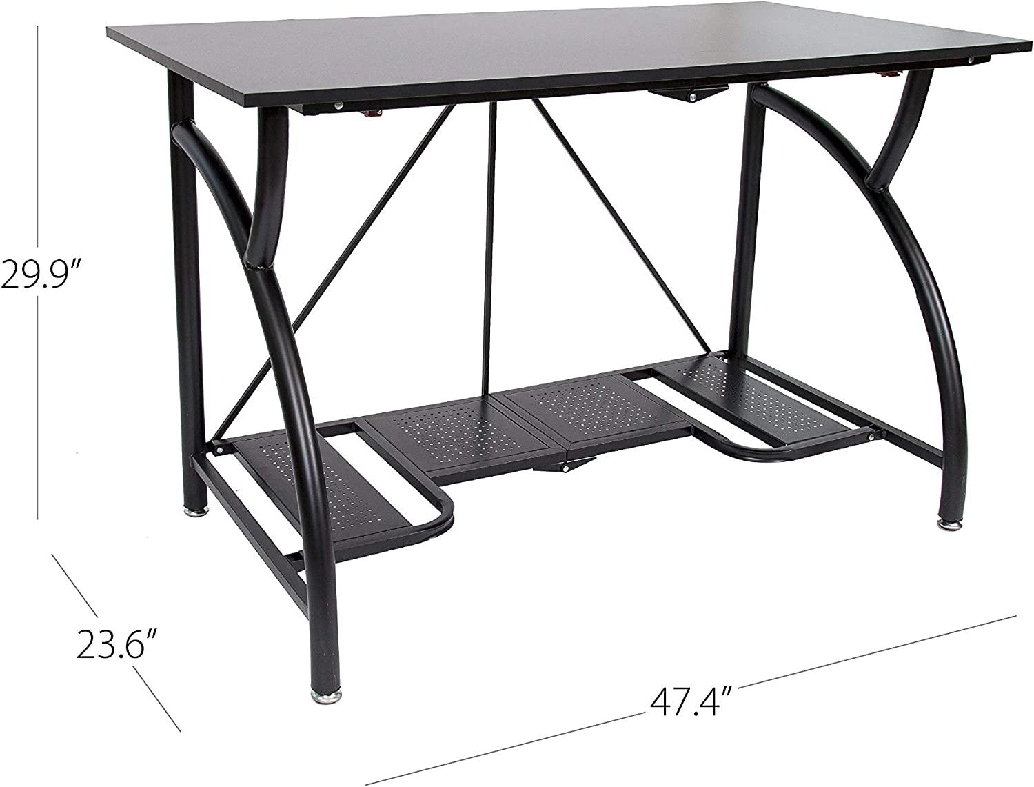 Origami Folding Computer Desk for Office Study Students Bedroom Home Gaming and Craft | Space Saving Foldable Design, Fits Dual Monitors and Laptop, Collapsible, No Assembly Required | Black, Large (RDE-01)