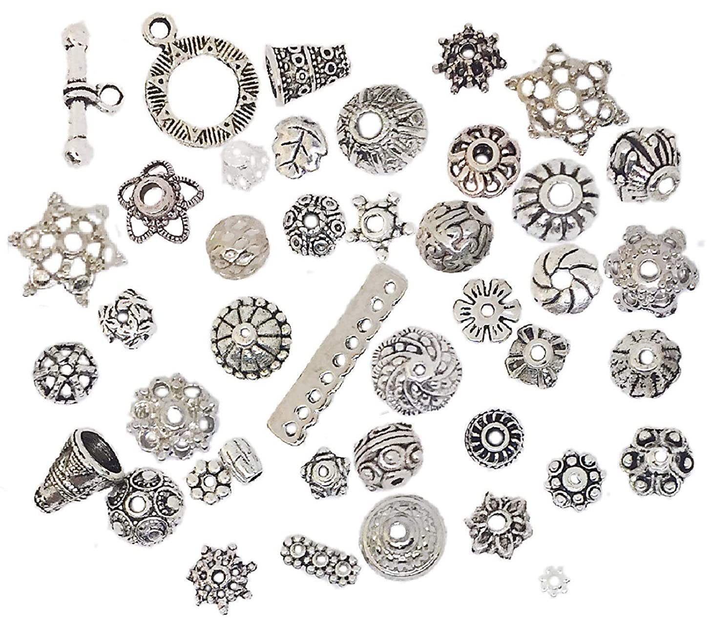 160-210pcs Bali Style Jewelry Making Metal Bead Caps Deluxe New Mix 100 Gram Tibetan Silver 25-35 Kind Style Shape