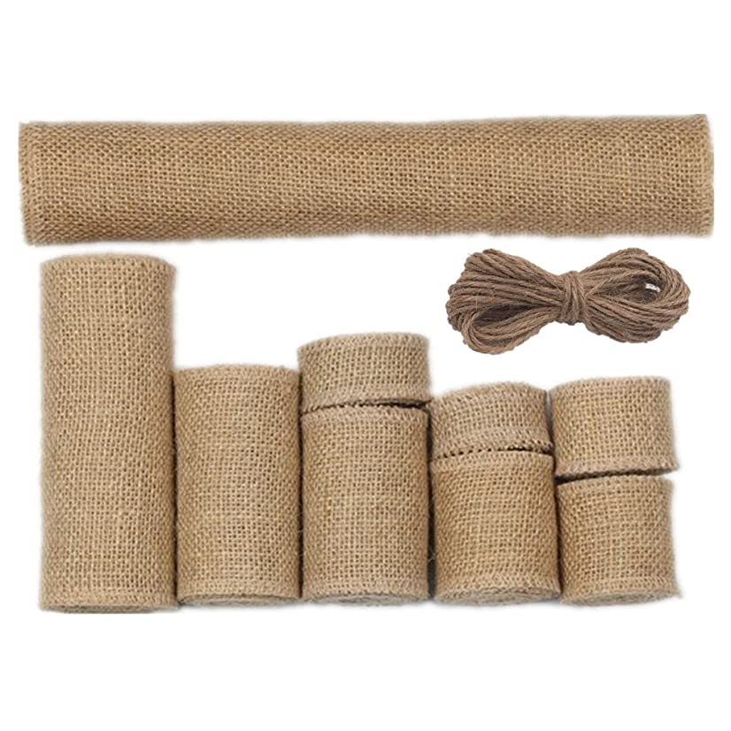 Zhiheng Assorted 9 Sizes 9 Rolls Rustic Burlap Ribbon Hessian Jute Fabric Table Runner Rolls with 66ft Jute Twine for Vintage Gift Wrapping Handmade Craft Home Garden Wedding Decoration