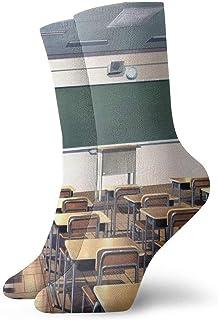 tyui7, Calcetines de compresión antideslizantes de dibujos animados de la escuela escolar Calcetines deportivos acogedores de 30 cm para hombres, mujeres y niños