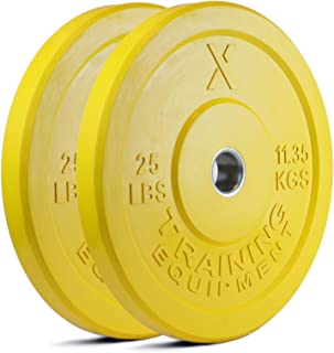 X Training Equipment Premium Color Bumper Plate Solid Rubber with Steel Insert - Great for Crosstraining Workouts