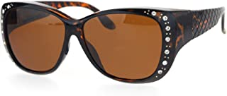 Polarized 55mm Fit Over OTG Butterfly Rhinestone Diva Sunglasses