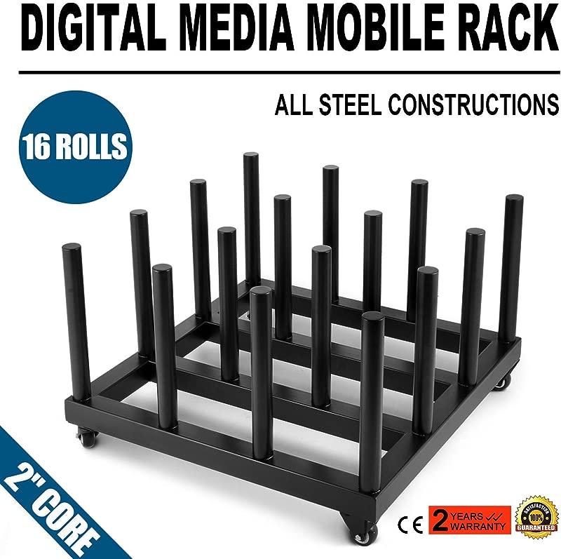 Superland 2 Core Heavy Duty Media Roll Mover Cart Rack Holds 16 Rolls Vinyl Cart Mobile Rack For Mobile Storage 2 Core