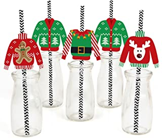Big Dot of Happiness Ugly Sweater Paper Straw Decor - Holiday and Christmas Party Striped Decorative Straws - Set of 24