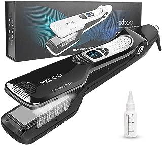 MKBOO Hair Straightener with Steam,Salon Professional Nano Titanium Ceramic Steam Flat Iron with Removable Comb+Digital LCD+5 Level Adjustable Temperature+Auto Temperature Lock Black