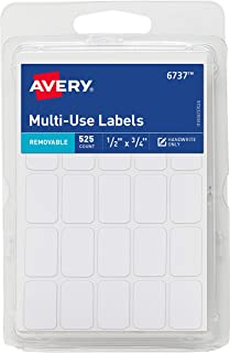 Avery Removable Labels, Rectangular, 0.5 x 0.75 Inches, White, Pack of 525 (6737)