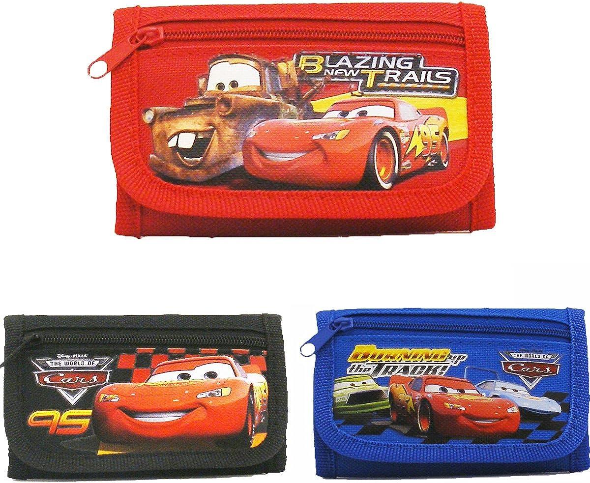 Disney Car Tri-Fold Wallets (3 Wallets),Red , Blue and Black,4.5