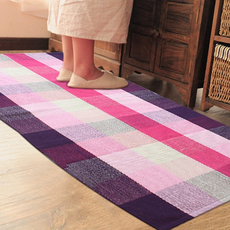 Cotton Knit Small mats Kitchen Bedroom Restroom Bathroom Door Absorbent Fabric mats Doormat Foot Pad-A 60x180cm(24x71inch)