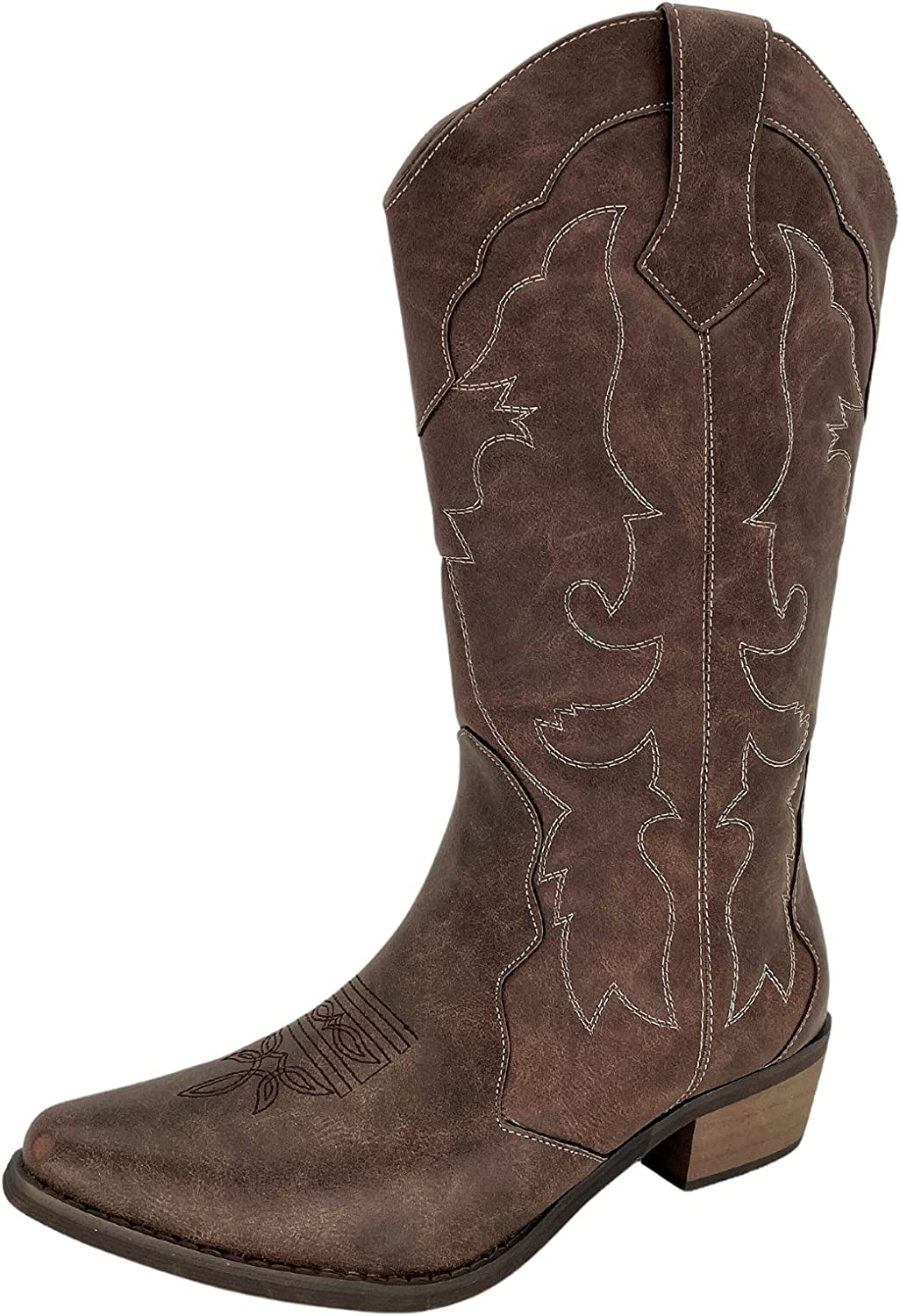 Womens Cowgirl Cowboy Boots Wide Calf Snip Toe Western Wedding Shoes