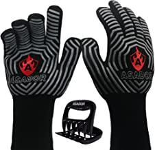 ASADOR BBQ Grill Gloves with Meat Claws-1472℉ Extreme Heat Resistant -Silicone Insulated Oven Mitts-an essential to safely...