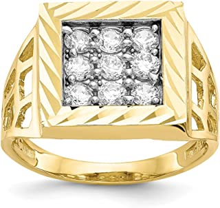 10K Yellow Gold Ring Band with Stones Cubic Zirconia CZ White