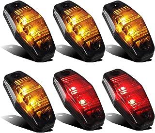 Partsam 4 Amber + 2 Red Universal Smoked Side Marker Trailer Light Surface Mount 2 Diodes, Sealed Mini Led Marker Clearance or Identification Lights, Mini Side Fender Lights (2.54