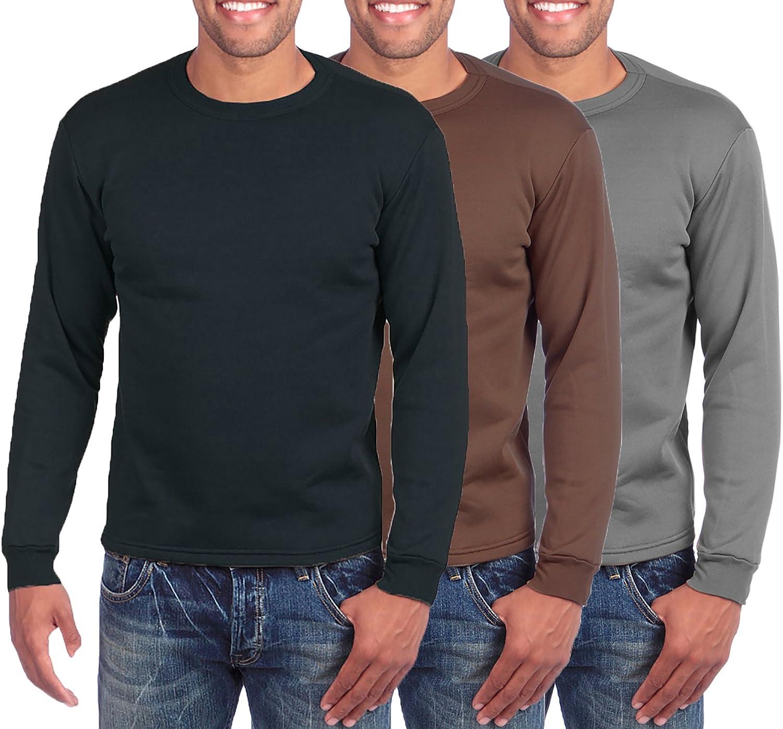 ToBeInStyle Men's Premium Fleece Lined Microfiber Thermal Long Sleeve Crewneck Shirt Top