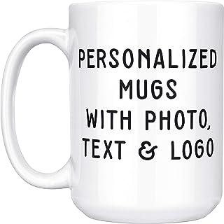 Custom Mugs w Photo and Text – 15 oz. Customized Large Coffee Mug – Add..