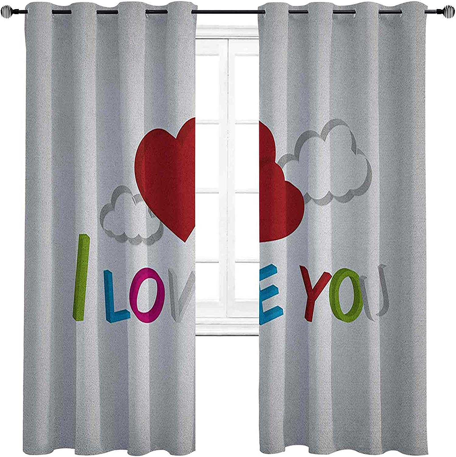 I Love You Room A surprise price is realized Darkened Grommet Max 78% OFF 3D Curtain Letters Insulation