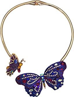 Purple Butterfly Hinge Collar Necklace