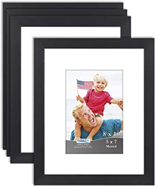 Icona Bay 8x10 Picture Frames Matted for 5x7 Photos (Black, 4 Pack), Sturdy Wood Composite Frames (not PS Plastic), Modern St