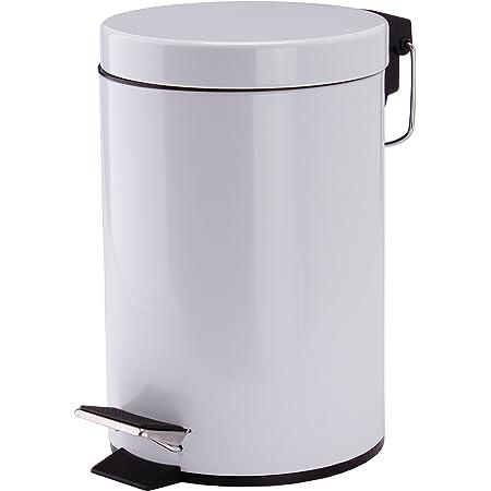 MSV Poubelle à cosmétiques Acier Inoxydable Blanc uni avec Récipient intérieur Amovible Salle de Bains Poubelle à pédale Boîte à ordures – 3 litres
