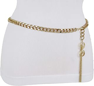 fc0b7b7aa2 TFJ Women Fashion Belt Gold Metal Chain Hip High Waist Spider Charm Fringes  Tassel XS S M