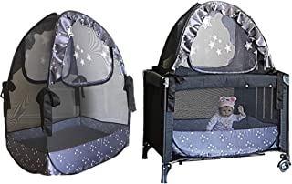 Popup Crib Tent Twin Pack - Pack n Play Travel Tent to Keep Baby from Climbing Out - Portable Ready to use on Vacation - Nursery Mosquito Net Baby Canopy Netting Cover a Must When Staying with Family