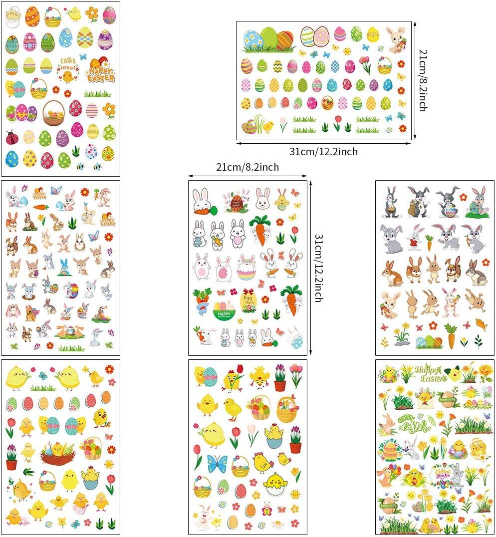 8 Fogli Stickers Bambini per Pasquali Uovo Pulcini 8 Fogli Bluelves Adesivi Pasqua Coniglio Adesivi Coniglio per Bambini Artigianato