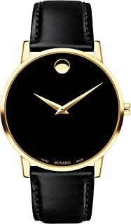 Movado Men's Museum Yellow Gold Watch with Concave Dot Museum Dial, Gold/Black Strap (Model 607271)