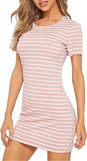 Floerns Women's Casual Short Sleeve Striped Bodycon T-Shirt Dress