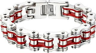 Oidea, bracciale da uomo in acciaio inox lucido, catena per moto e motociclisti, 16 mm di larghezza, 23 cm, rosso oro nero
