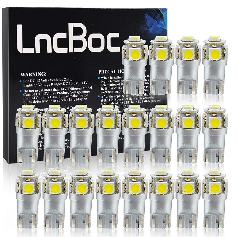 LncBoc T10 LED Bulbs 194 LED Light Bulb 6000K 168 LED Bulb W5W White Wedge Super Bright 5-SMD 5050 ChipSets for License Plate Car Dome Map Door Courtesy Lights (Pack of 20)