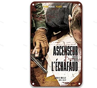 TGDB Ascenseur Pour l'échafaud (1958) Movie Retro Metal Tin Sign Vintage Aluminum Sign for Home Coffee Wall Decor 8x12 Inches