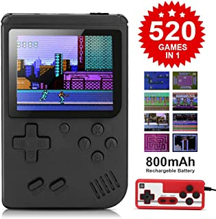 BLANDSTRS Handheld Game Console, Retro Mini Game Player with 520 Classic FC Games, 800mAh Rechargeable Battery Portable Game Console Support TV Connection (Black)