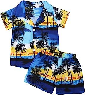 Bebé Niños Traje de 2 Piezas Conjunto Top Camisa de Manga Corta Pantalón Corto Camiseta con Estampado Infantil Árbol Ropa Verano de Playa para Vacaciones