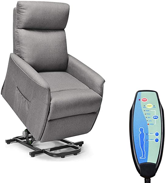 Giantex Power Lift Massage Recliner Chair For Elderly Soft Fabric Sofa Chair Heavy Padded Cushion Remote Control Home Theater Seating Leisure Lounge W Side Pocket Living Room Office Grey
