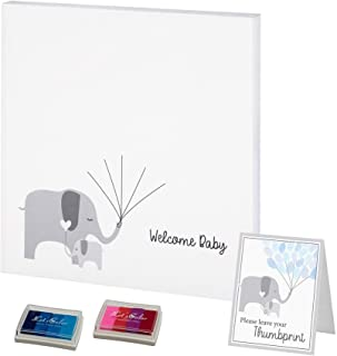 Lillian Rose Baby Elephant Canvas Baby Shower Guest Book Alternative with 2 Ink Pads, Gray
