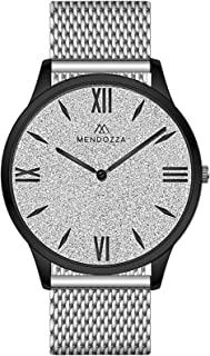 MENDOZZA Montre pour Femme avec Bracelet en Maille en Acier Inoxydable et Strass Blanc 39 mm