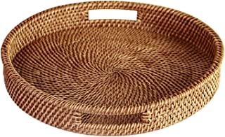 HandyMake Rattan Tray With Handles - Hand Woven Multipurpose Wicker Tray Made With Durable Rattan Fibre (Round 13.5 Inch Diameter, Natural)