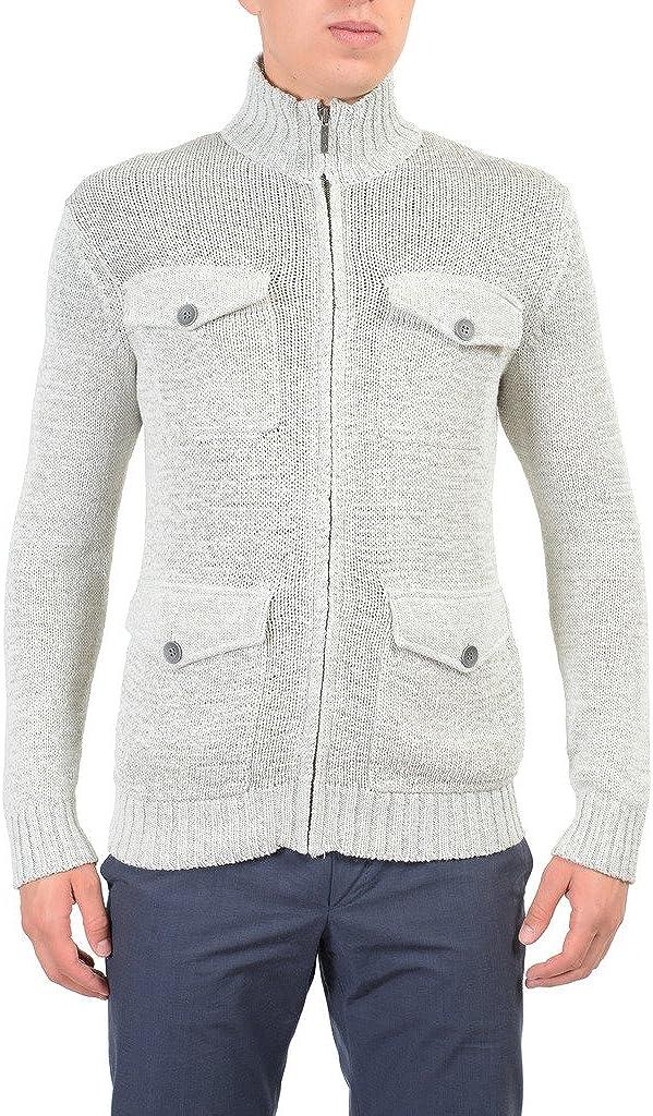 Kenneth Cole Light Gray Full Zip Knitted Men's Sweater