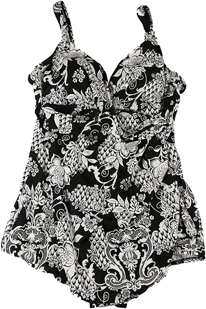 Swim Solutions Women's Plus Size Printed Sarong One-Piece Swimsuit