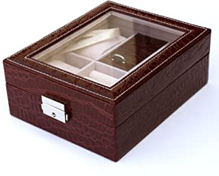 Focuseparts FOCUS EPARTS174; 4 Slot 5 Rings Red Crocodile Leather Jewelry Box for Watch Ring Glass Top Display