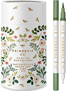 Primrosia 60 Dual Tip Marker Pens, Fineliner and Watercolour Brush Pens for Artists Designers Adults Students Sketching Il...